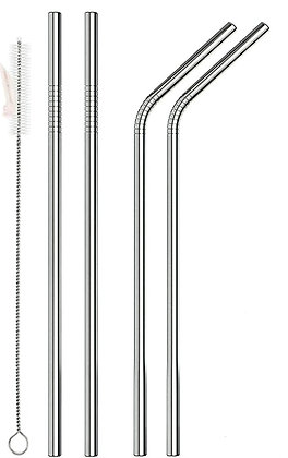 4 Stainless Steel Mixed Straws + Cleaner