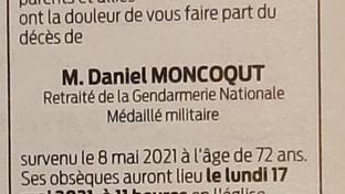 Décès de Monsieur Daniel Moncoqut