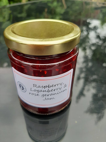 raspberry, loganberry and rose geranium jam