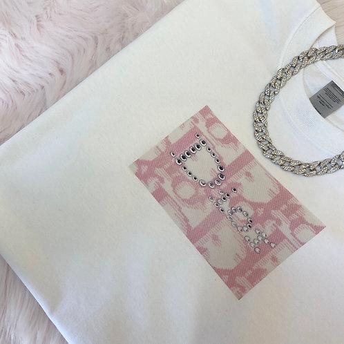 Pink Diamanté Print Tee