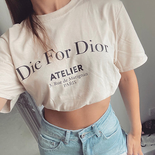 DIE FOR  Oversized Slogan T-Shirt  - Nude