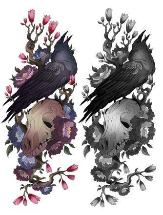Raven & Fox Skull