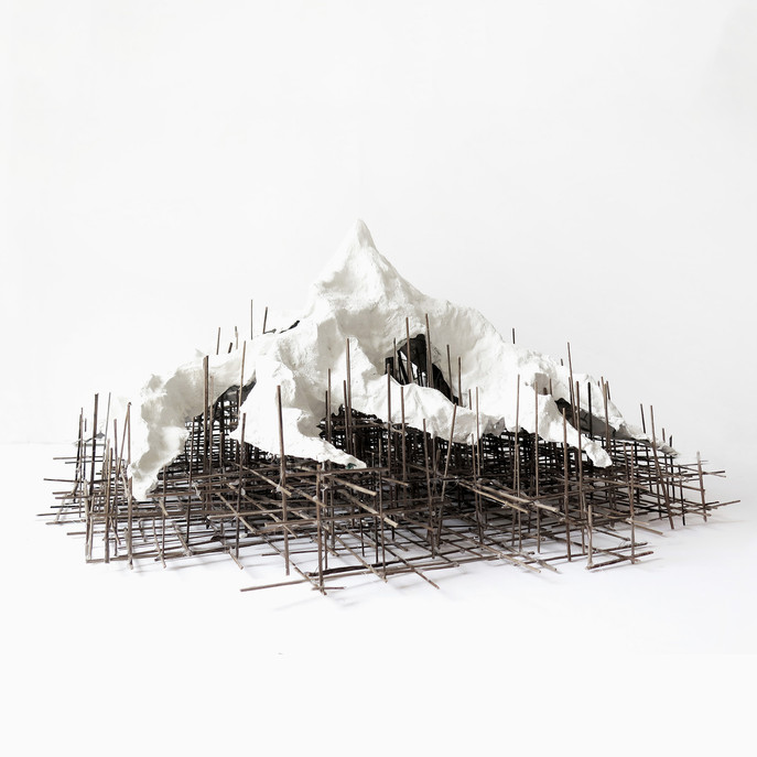 Constructing Mountains 2019, 3, plaster, glue and straw, 30x30x30 cm