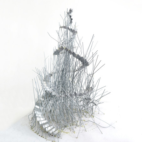 Tower 2018' twigs, Wire and Tin on board, 40 x 40 x 40 cm