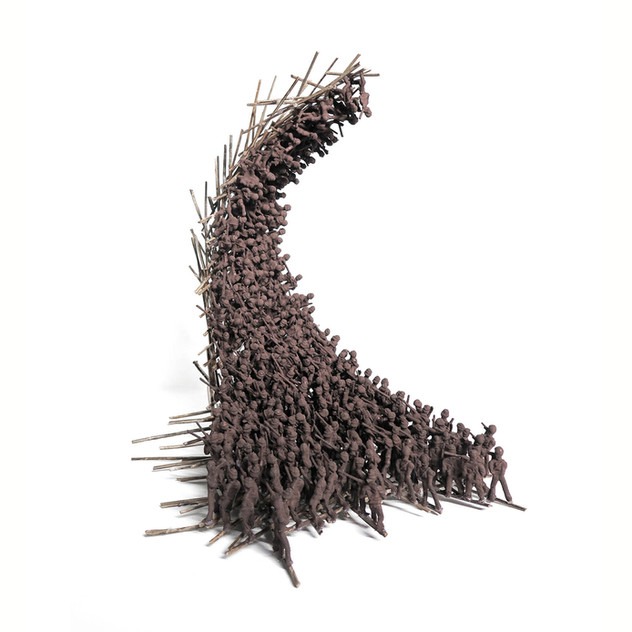 One Way Up, 2016. Plastic figurines and straw, 40 x 40 x 40cm