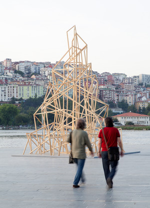 The Tower, 2015. Site-specific installation. Wood and MDF Board. 500 x 500 x 700 cm. Art Istanbul International, at Golden Horn, Istanbul, 2015