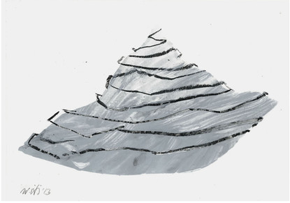 Mountains series, 2011. Acrylic and graphite on paper. 20 x 35 cm