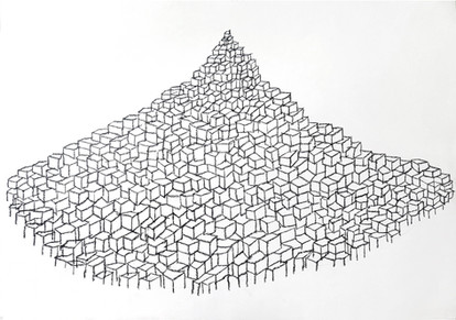 Birth of a new Mountain 2017, crayon on paper, 64 x 85cm