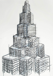"""From the series"""" The Seven Towers"""" 2013, crayon on paper, 76 x 56cm"""