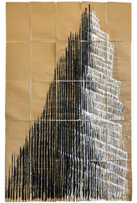 Tower series, 2020. Acrylic Crayon on paper. 210 x 142 cm