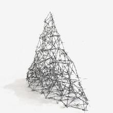 Elusive Mountain' 2018,Barbed Wire &thin aluminium wire, 40x40x40cm
