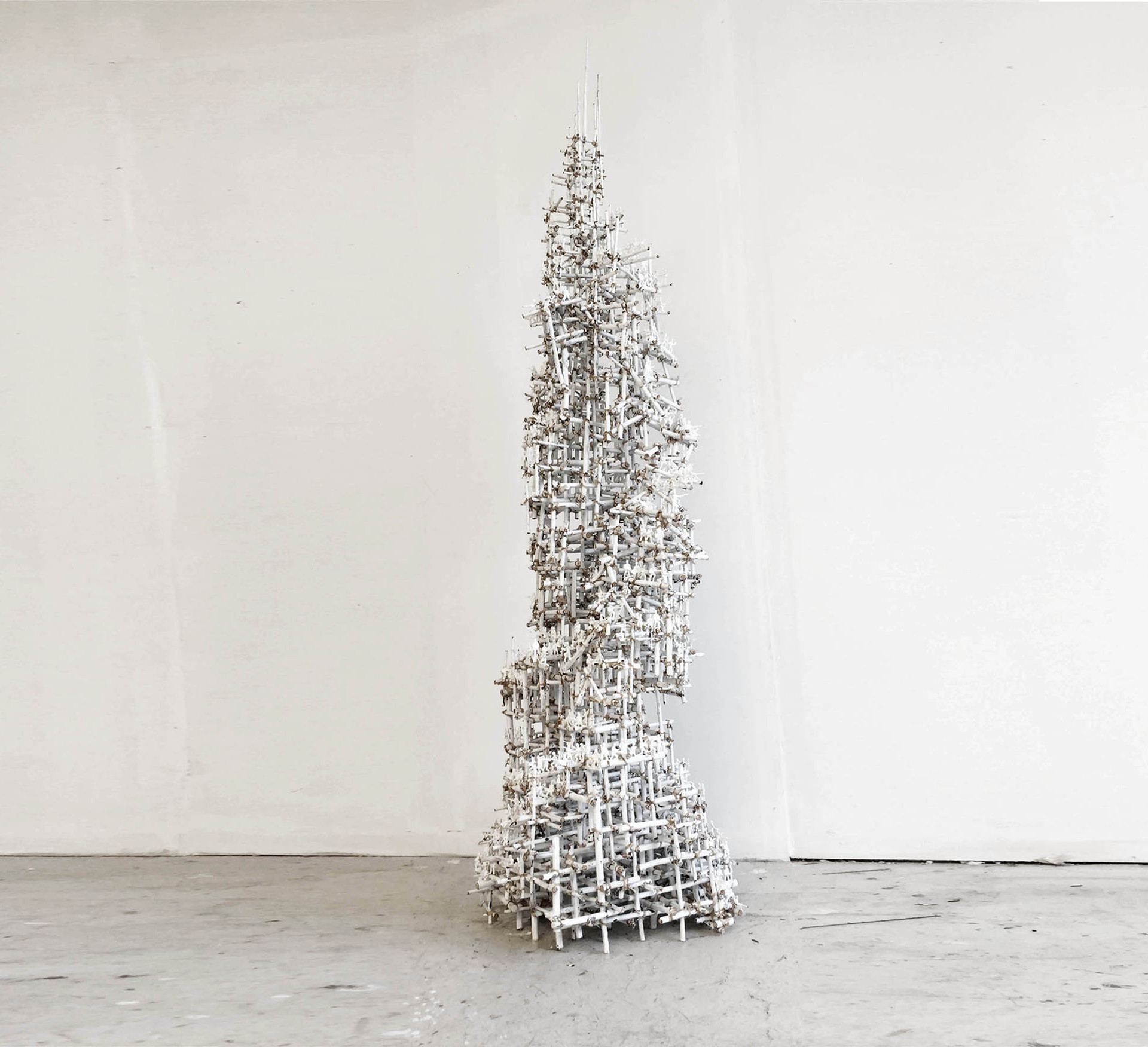 Last Tower 2018' twigs, toysoldiers, paper wire , acrylic, 200x50x50cm