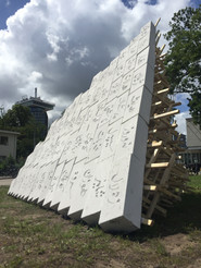 Detail, Monument to the Unsung, 2018 Aeratedcement block & pine wood, 300x400x300cm