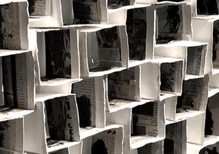 (Detail) Stone Tales' 2018,  Hard paper, newspaper of cuts & glue 340x600x10cm