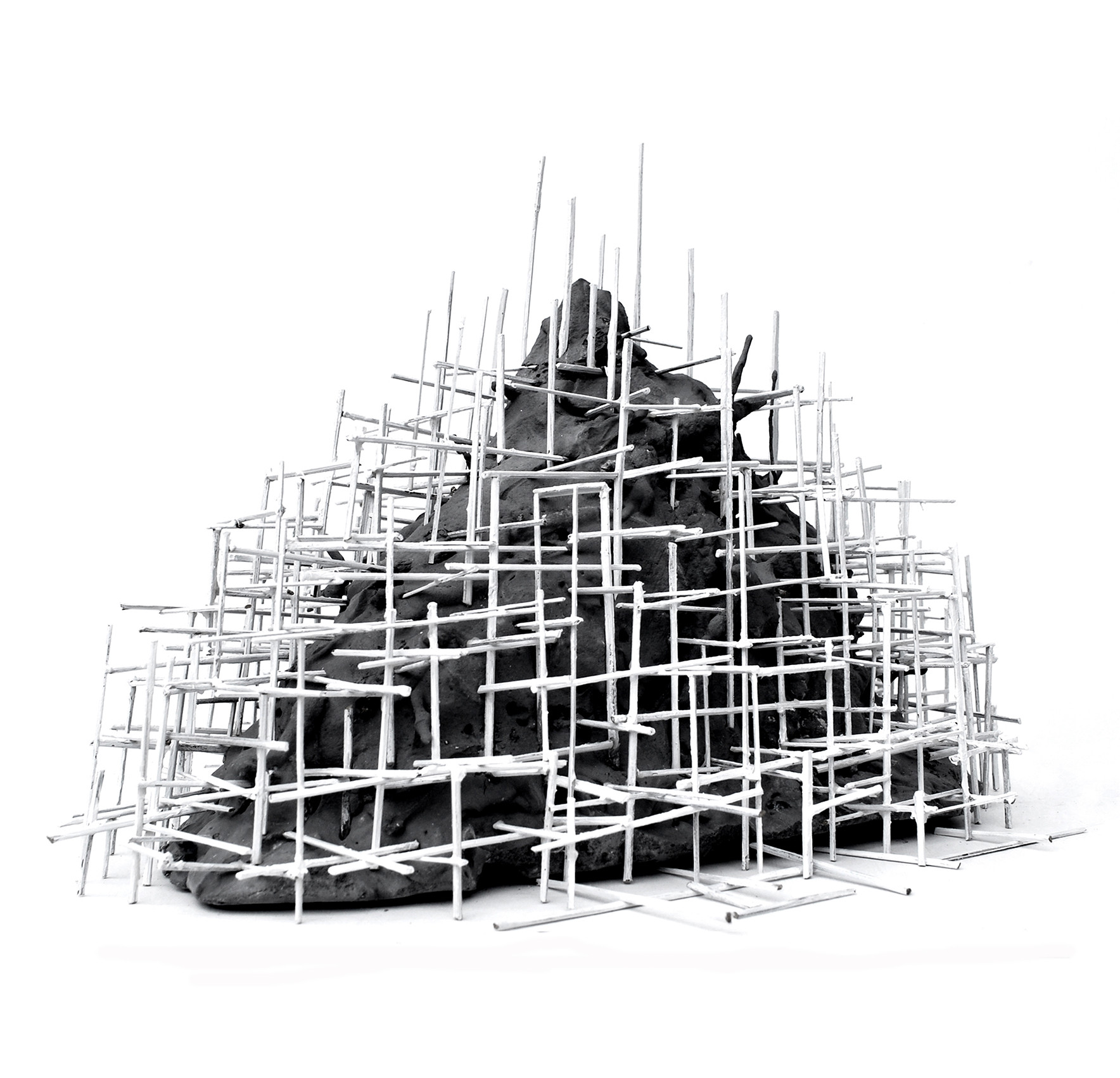 Constructing Mountain, 2012. Straw, clay and acrylic paint on MDF board. 40 x 40 x 40 cm