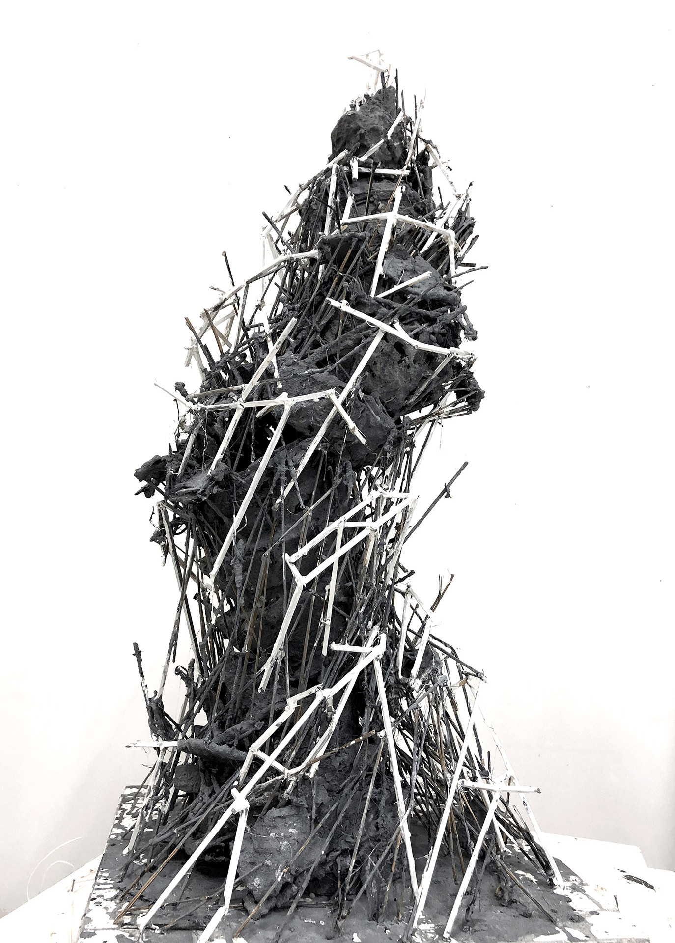 Tower, 2018 hard bard, plaster, twigs and acrylic on mdf, 70x40x40cm