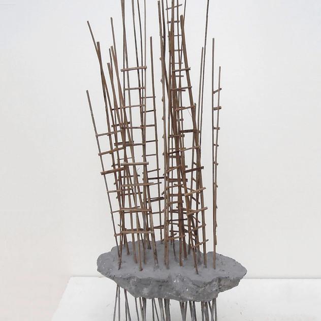 From ladders series, 2, 2012, (detail)plaster & straw on MDF board, 60x40x40cm