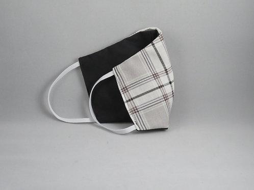 Gray Plaid/Black Face Mask