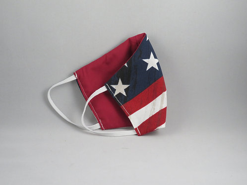 Large American Flag/Red Face Mask