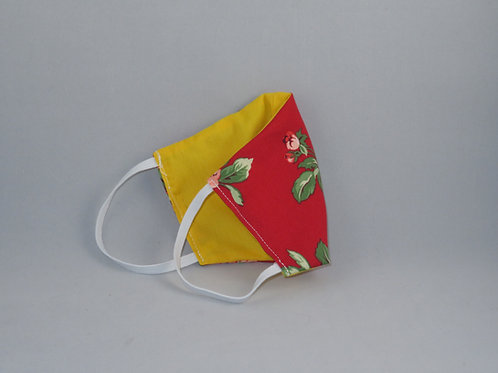Tropical Red Floral/Yellow Face Mask