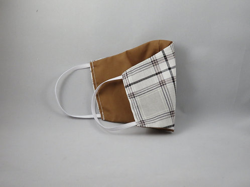 Gray Plaid/Brown Face Mask