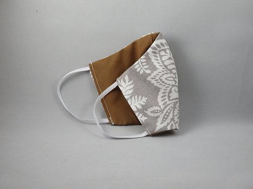 Gray Paisley/Brown Face Mask