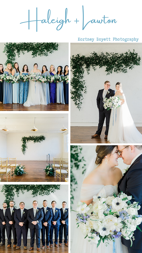 February wedding at The Schoolhouse wedding venue. Indoor ceremony and reception. Photos with bridal party.