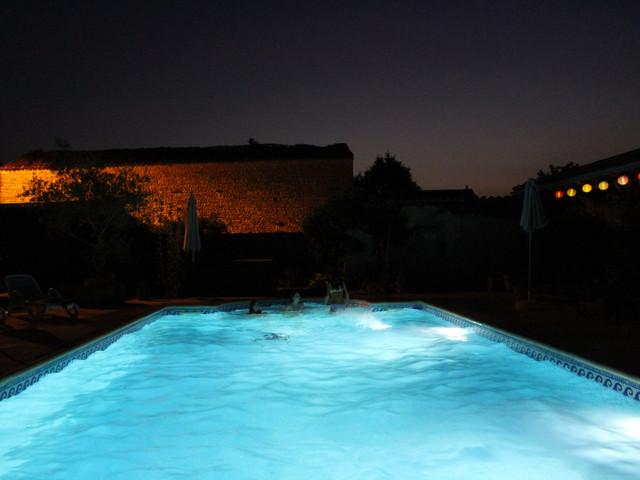 night time pool swimming