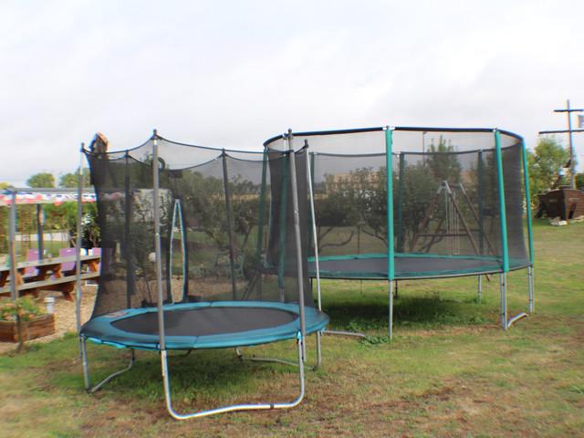 2 trampolines
