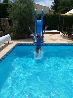 pool slide fun