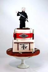 Motivtort japanischer Schwertkampf