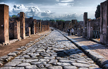 Inside the archeological site of Pompei