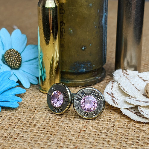 308. Nickel Plated Pink CZ Studs