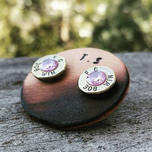 308. Brass Pink CZ Studs