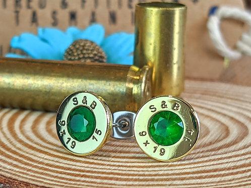 9mm Bras Emerald CZ Studs
