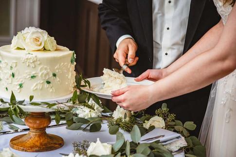 White & Green Wedding Cutting Cake