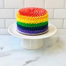 Rainbow ruffle smash cake