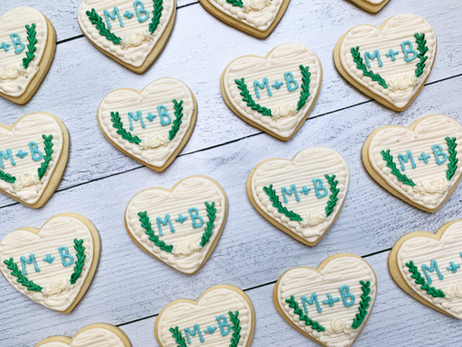 Monogram Heart Wreath Cookies