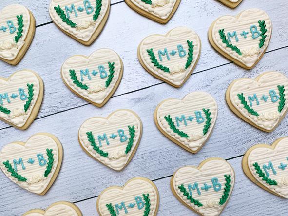 Monogram Heart Wreath Cookies