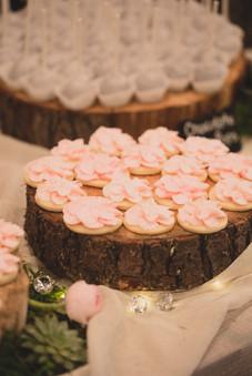 Pink floral cookies