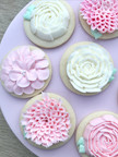 3D Pink & White Flower Cookies