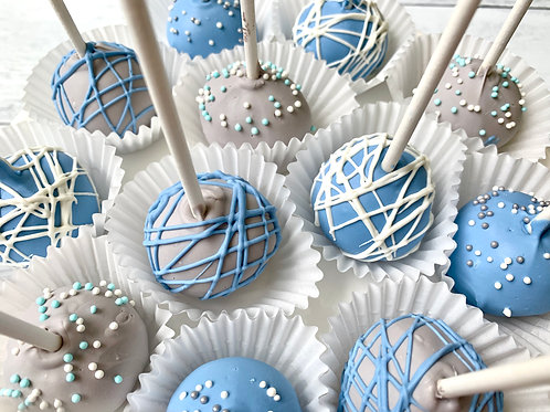Blue & Gray Cake Pops