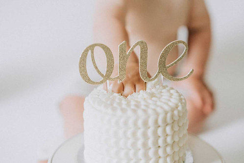 """ONE"" Gold Cake Topper"