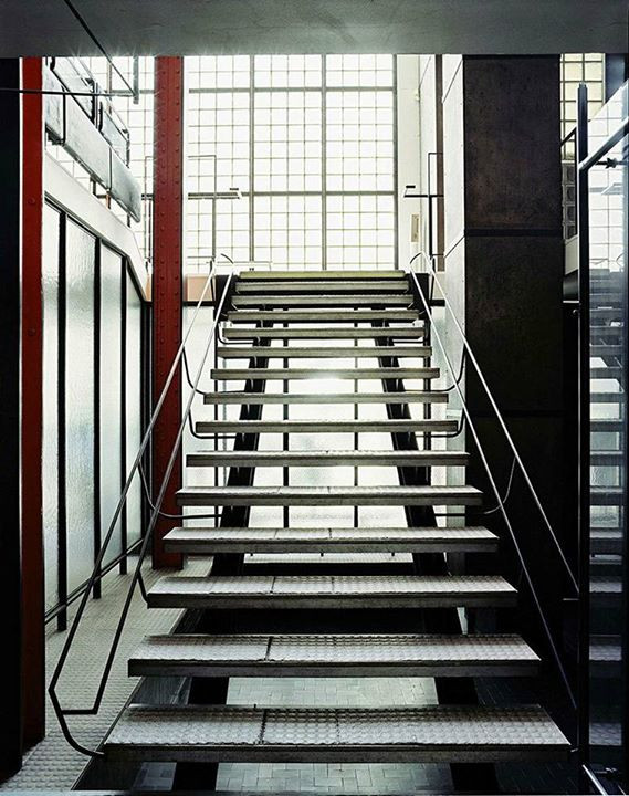 The stairs are open to let the light in at Maison De Verre