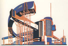 Russian Constructivist architectural painting
