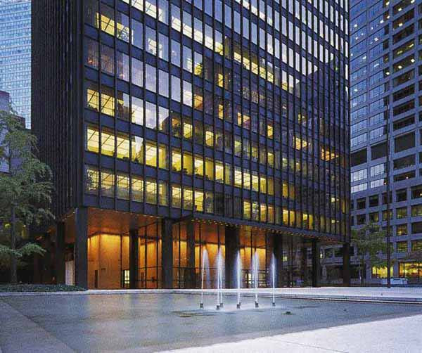 Mies Van Der Rohe's Seagrams building entry and plaza, NY, NY