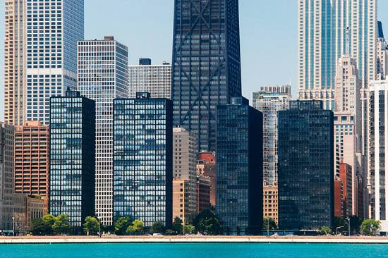 Mies' Lake Shore Drive Apartments, Chicago, Illinois.  Lost in a sea of internation style