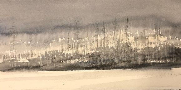 Watercolor ( Original ) 40x16cm Vallsjön December  oramad 2021