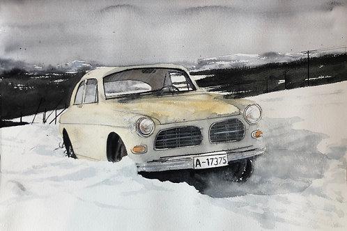 Watercolor ( Original) Volvo Amazon fast i snö /   70x50 inkl ram  2021