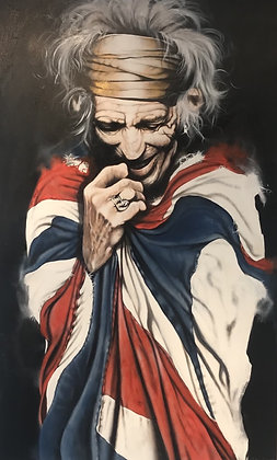 Keith Richards (UK flag) Original  Acrylic on canvas 90x145cm